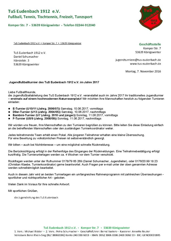 Einladung Jugendturnier 2017